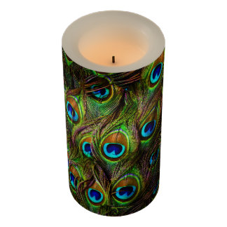 Peacock Feathers Invasion LED candle