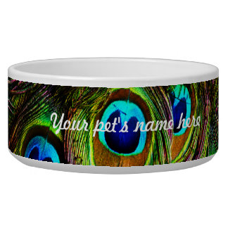 Peacock Feathers Invasion - Pet Water Bowl