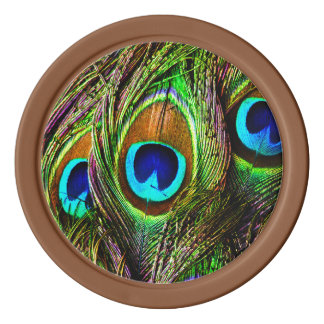 Peacock Feathers Invasion Poker Chips