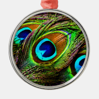 Peacock Feathers Invasion - Round Metal Christmas Ornament