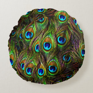 Peacock Feathers Invasion Round Pillow