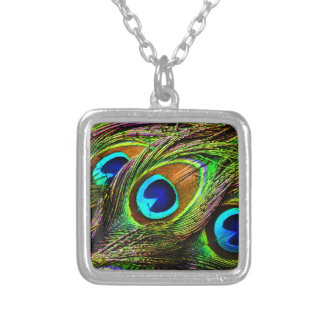 Peacock Feathers Invasion - Square Pendant Necklace