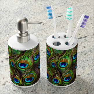 Peacock Feathers Invasion Toothbrush Holder