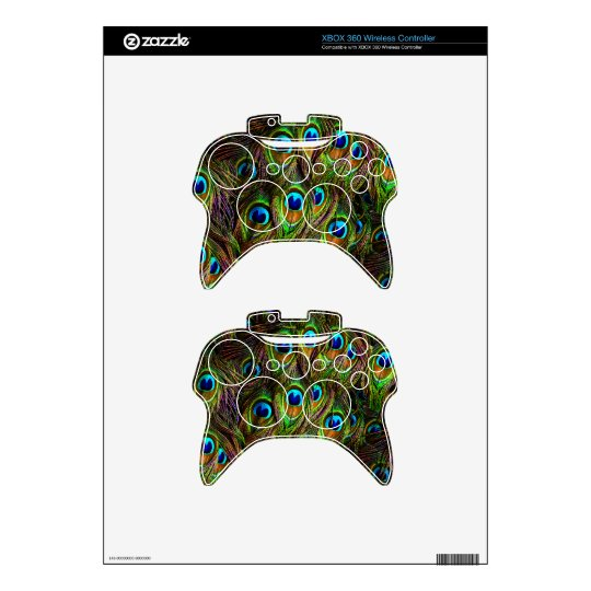 Peacock Feathers Invasion Xbox 360 Controller Decal