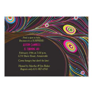 "Peacock Feathers Invitation 5"" X 7"" Invitation Card"
