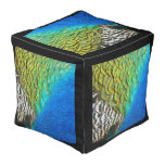 Peacock Feathers IV Colorful Nature Design Pouf