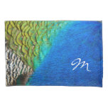 Peacock Feathers IV Colorful Nature Monogram Pillowcase