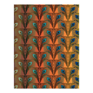 Peacock Feathers IV SCRAPBOOK paper Letterhead