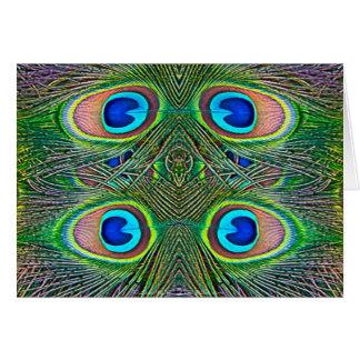 Peacock Feathers Kaleidoscope Print Card