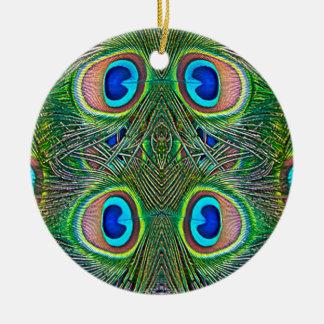 Peacock Feathers Kaleidoscope Print Ceramic Ornament