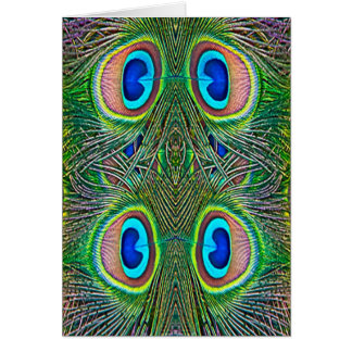 Peacock Feathers Kaleidoscope Print Greeting Cards