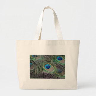 Peacock Feathers Large Tote Bag