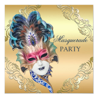 Peacock Feathers Mask Gold Masquerade Party Card