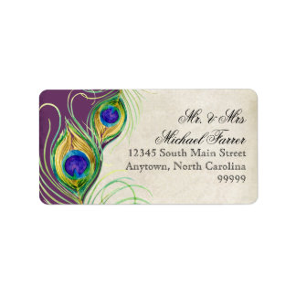 Peacock Feathers Modern Wedding Matching Labels