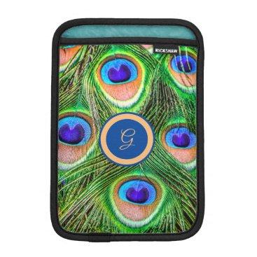 Peacock Feathers Monogrammed iPad Mini Sleeve