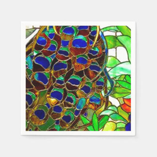 Peacock Feathers Mosaic Stained Glass Window Disposable Napkin