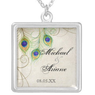 Peacock Feathers n Swirls Wedding or Anniversary Silver Plated Necklace