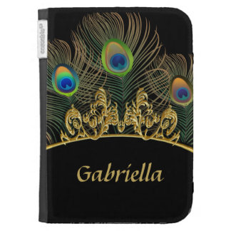 Peacock feathers on black and gold kindle keyboard case