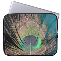 Peacock Feathers on black and turquoise Laptop Sleeve