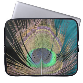 Peacock Feathers on black and turquoise Computer Sleeve