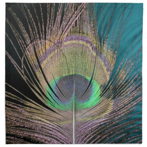 Peacock Feathers on black and turquoise Napkins
