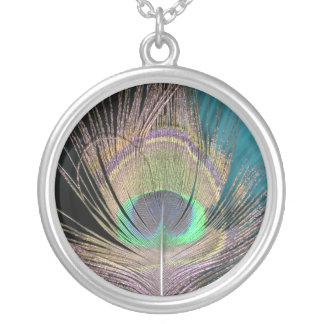 Peacock Feathers on black and turquoise Round Pendant Necklace