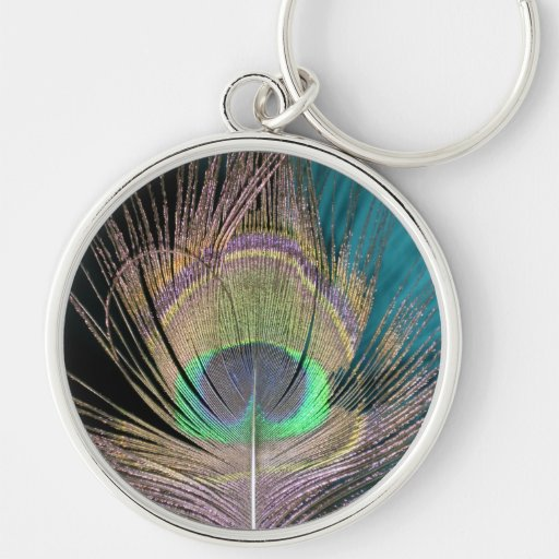 Peacock Feathers on black and turquoise Silver-Colored Round Keychain