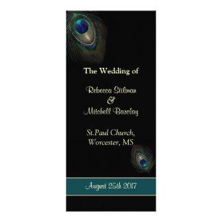 Peacock feathers on black Wedding program Full Color Rack Card