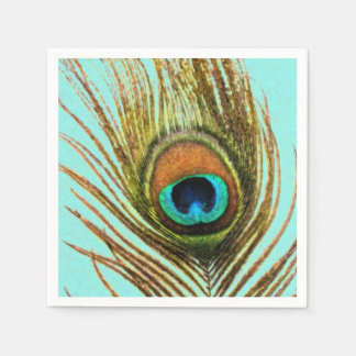 Peacock Feathers on Blue Paper Napkins