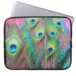 Peacock Feathers on Pink Laptop Sleeves