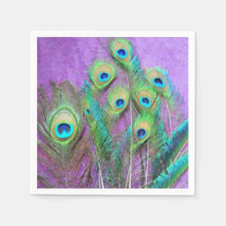 Peacock Feathers on Purple Disposable Napkins