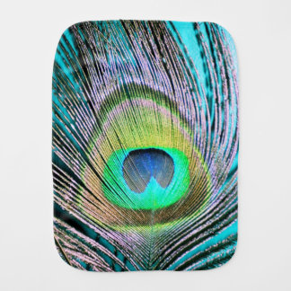 Peacock Feathers on turquoise Burp Cloth