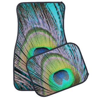 Peacock Feathers on turquoise Car Floor Mat
