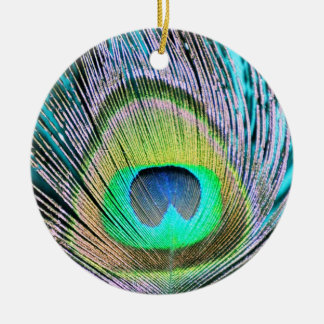 Peacock Feathers on turquoise Ceramic Ornament