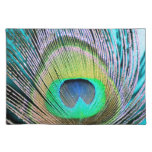 Peacock Feathers on turquoise Cloth Placemat