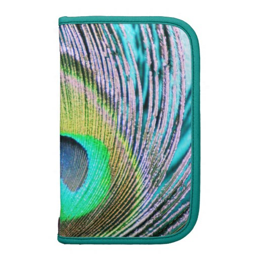 Peacock Feathers on turquoise Folio Planner