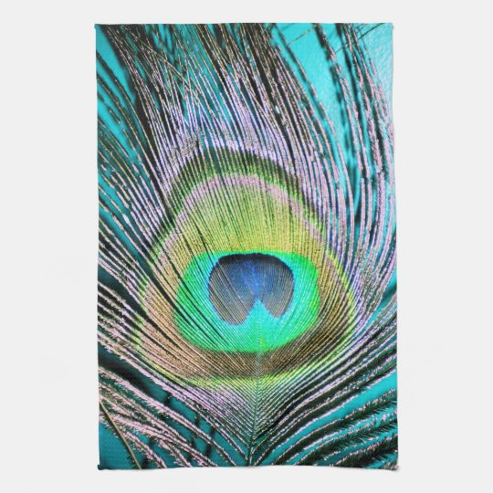 Peacock Feathers on turquoise Hand Towel