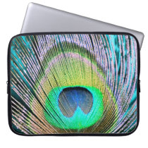 Peacock Feathers on turquoise Laptop Sleeve