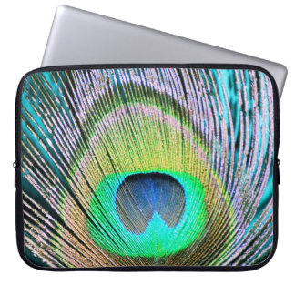 Peacock Feathers on turquoise Laptop Computer Sleeve
