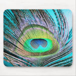 Peacock Feathers on turquoise Mousepad