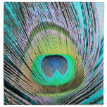 Peacock Feathers on turquoise Printed Napkin