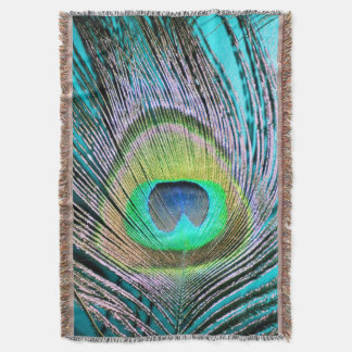 Peacock Feathers on turquoise Throw