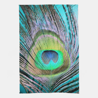 Peacock Feathers on turquoise Towels