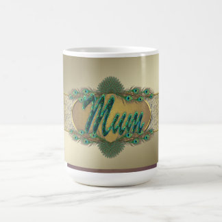 Peacock feathers ornate text design mugs for mum