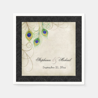 Peacock Feathers Parchment Wedding Reception Decor Paper Napkin