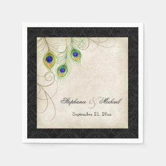 Peacock Feathers Parchment Wedding Reception Decor Paper Napkin