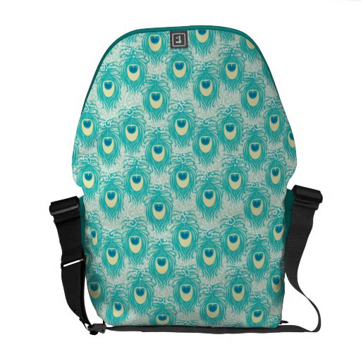 Peacock feathers pattern messenger bag