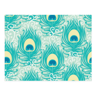 Peacock feathers pattern postcard