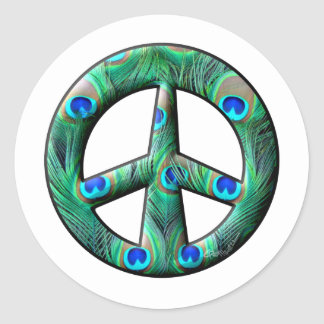 Peacock Feathers Peace Sign Classic Round Sticker