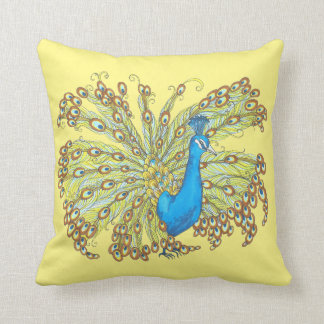 Peacock Feathers Pen and Ink Yellow Pillow